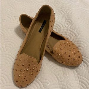 Rose Gold studded loafers